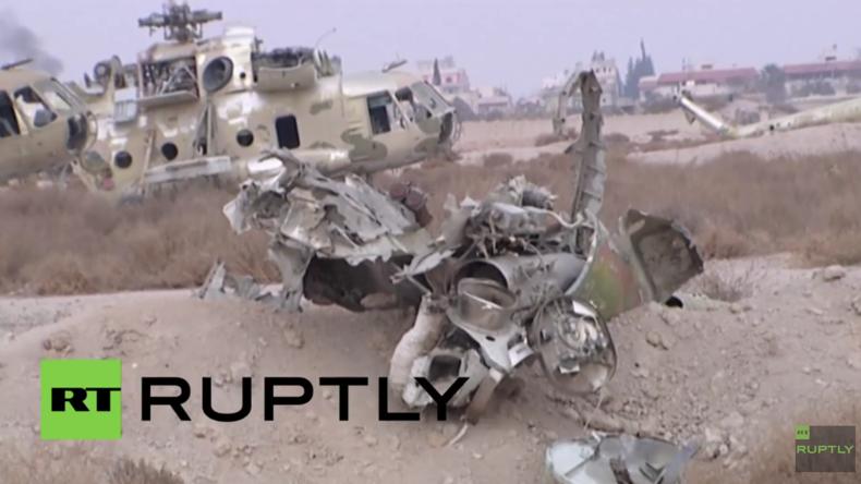 Syrien: Exklusiv-Aufnahmen des zurückeroberten Militärflughafens bei Damaskus