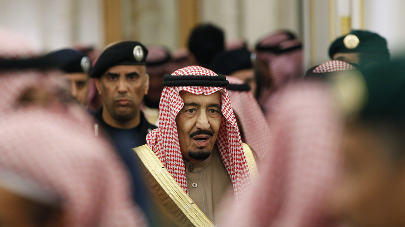 Der neue saudische König Salman während der Zeremonie für seinen verstorbenen Vorgänger , Abdullah bin Abdulaziz, in Rijad im Januar 2015