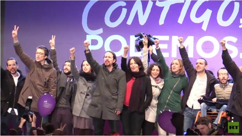 Spanien: Podemos feiert Wahlerfolg und endgültiges Ende des Zweiparteiensystems