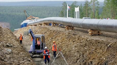 Blick auf Russlands erste Pipeline nach Asien in der Nähe von Nerungri in Ostsibirien im  Juli 2007