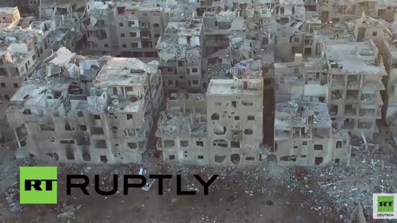 Syrien: Drohnenaufnahmen zeigen Verwüstung in der Umgebung von Damaskus
