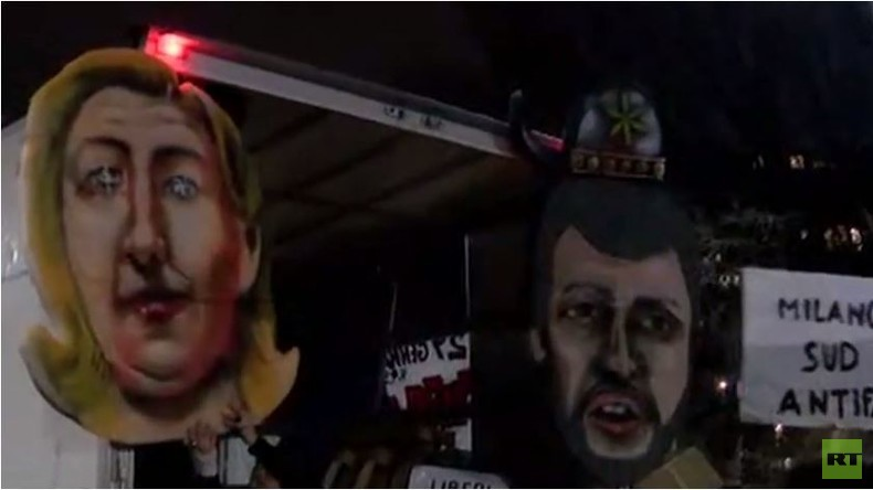 Live: Antifa Gegendemo zu Treffen von Le Pen und Salvini in Milan