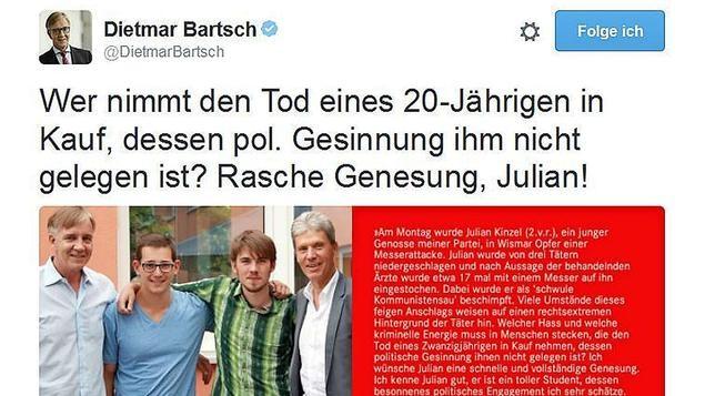 Dietmar Bartsch, Fraktionsvorsitzender im Bundestag der Partei Die Linke kommentierte den Vorfall auf Twitter