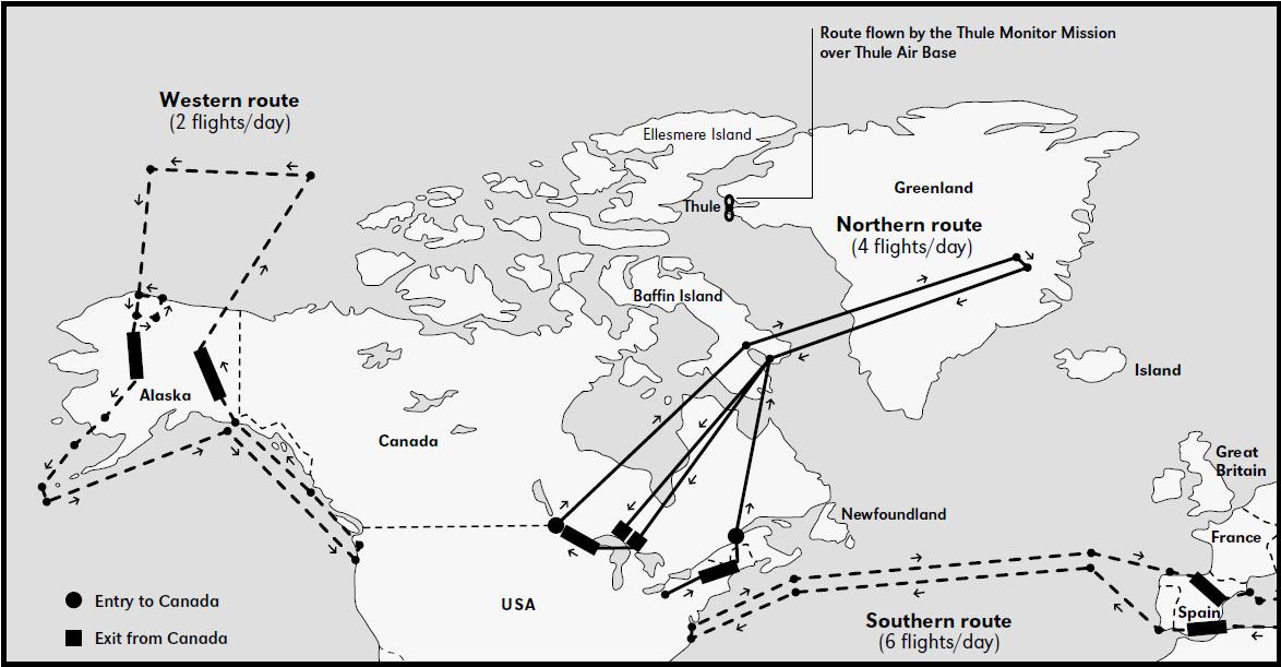 Karte der Flüge im Rahmen der Operation Chrome