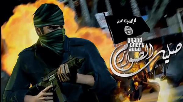 Abgebildet ist das offizielle Cover-Make-Up des IS für sein Propaganda-Video im Stile des Spiels GTA V