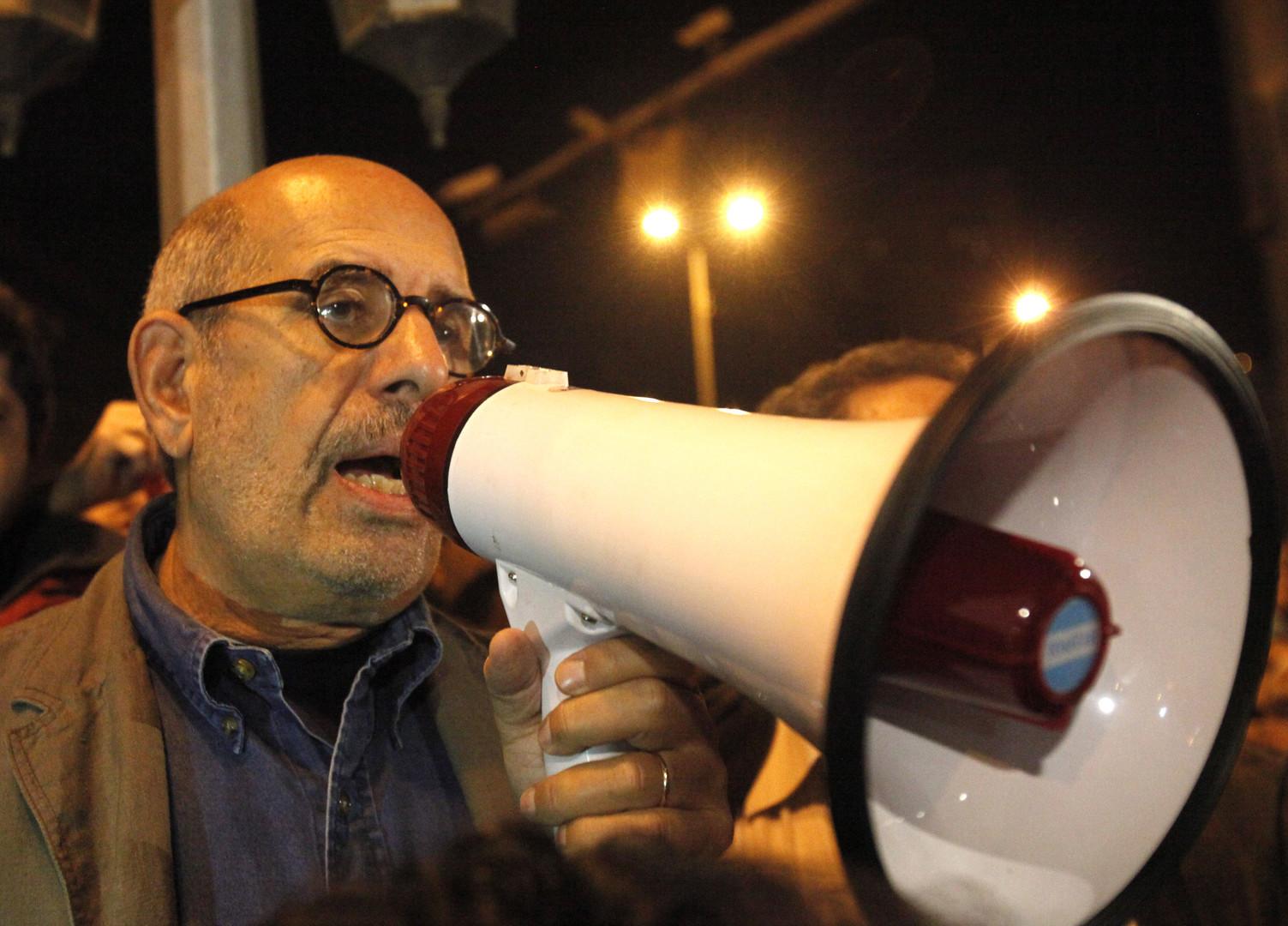 Am 30. Januar spricht der ägyptische Oppositionsführer und ehemalige Chef der Internationalen Atomenergiebehörde, Mohamed El-Baradei, zu dem Demonstranten.