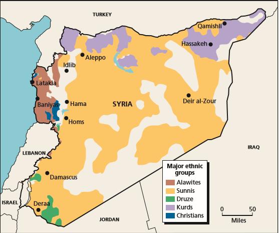 Eine Syrien-Karte, die grob die ethnische und religiöse Aufteilung des Landes abspiegelt. Quelle: RAND