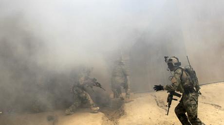 Afghanische Spezialeinheiten bei einer Übung in Kabul im April 2012.