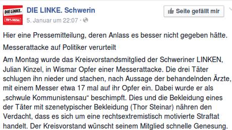 Auszug aus der Presseerklärung der Schweriner Linken kurz nach dem Vorfall. Quelle: Facebook / DIE LINKE. Schwerin