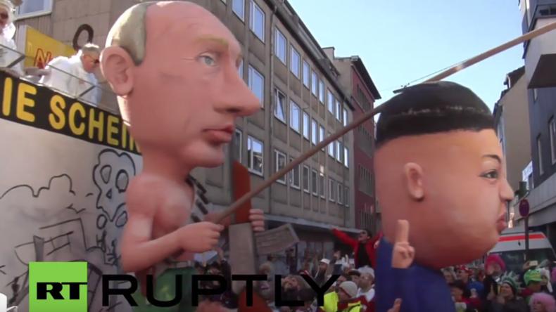 Putin, Assad, Kim Jong-un, Pegida und Merkel auf einer Veranstaltung – Karneval macht es möglich