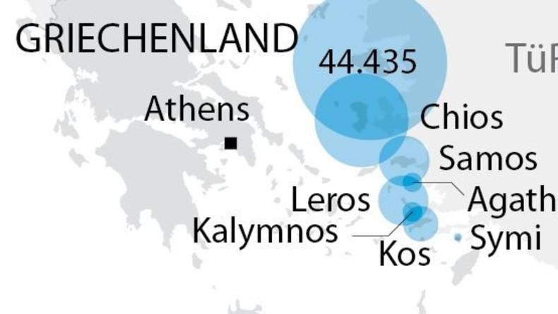 Grafik des Tages: Ankunft von Flüchtlingen in Europa über das Meer
