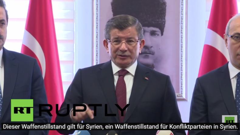 """Türkei: """"Die Türkei wird nicht an den syrischen Waffenstillstand gebunden sein"""" - Davutoglu"""
