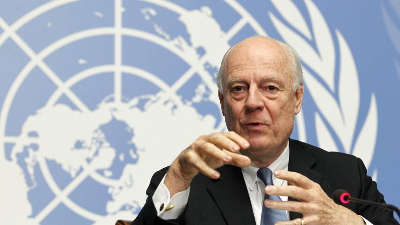 Der Beauftragte der Vereinten Nationen, Staffan de Mistura, heute vormittag in Genf.