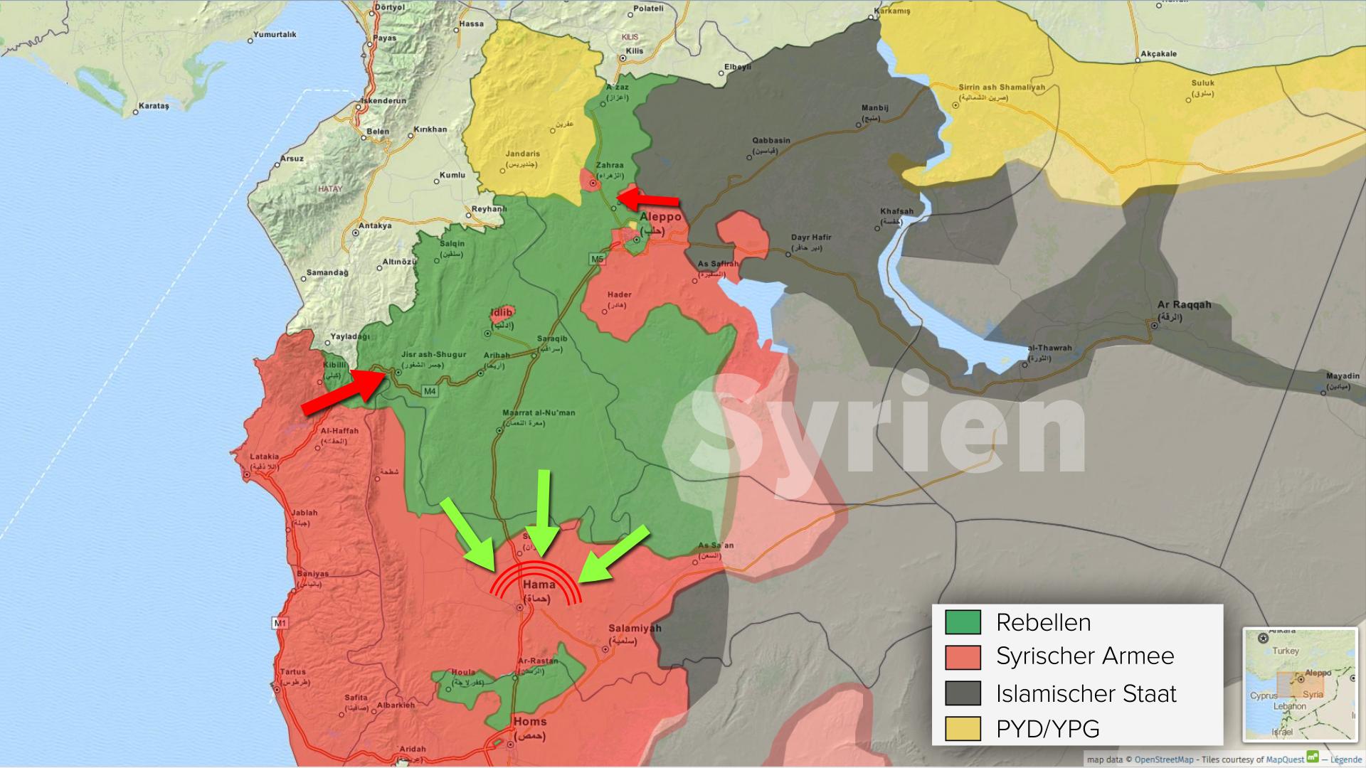 Syrische Armee verbucht weitere Geländegewinne um Hama - Offensive in Nord-Aleppo