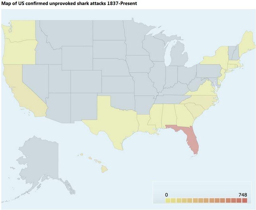 Anzahl der registrierten, unprovozierten Haiangriffe in den USA von 1837 bis heute
