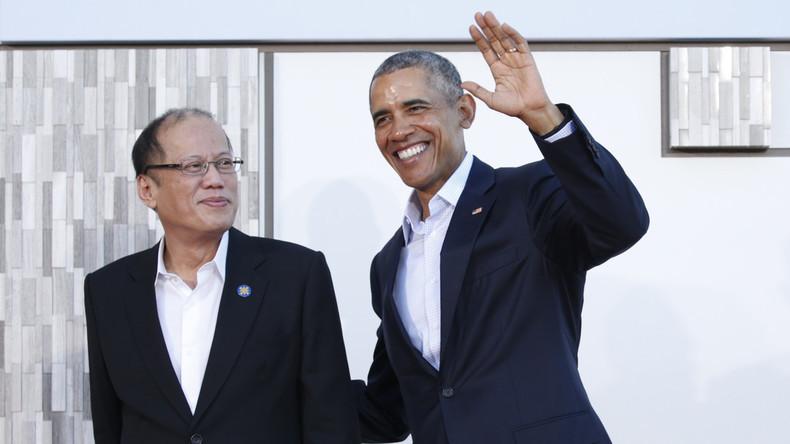 US-Präsident Barack Obama begrüßt den philippinischen Präsidenten Benigno Aquino. Die USA werden demnächst mehrere Militärstützpunkte auf den asiatischen Inseln errichten, Sunnyland, ASEAN-Gipfel, Februar 2016.