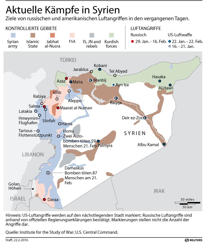 Grafik des Tages: Fronten vor dem Waffenstillstand in Syrien