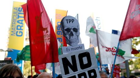 TPP-Gegner bei einer Demonstration in Santiago