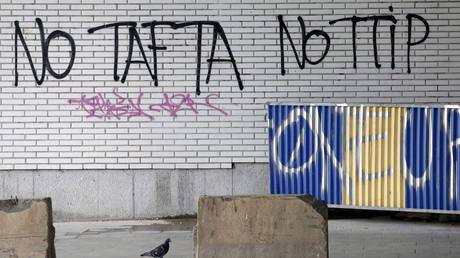 Anti-TTIP-Graffiti in Brüssel