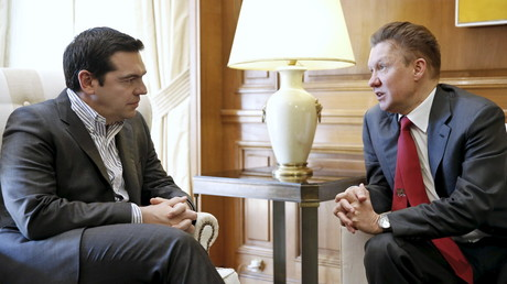 Der griechische Präsident Alexis Tsipras im Gespräch mit Gazprom-Chef Alexei Miller in Athen, April 2015.