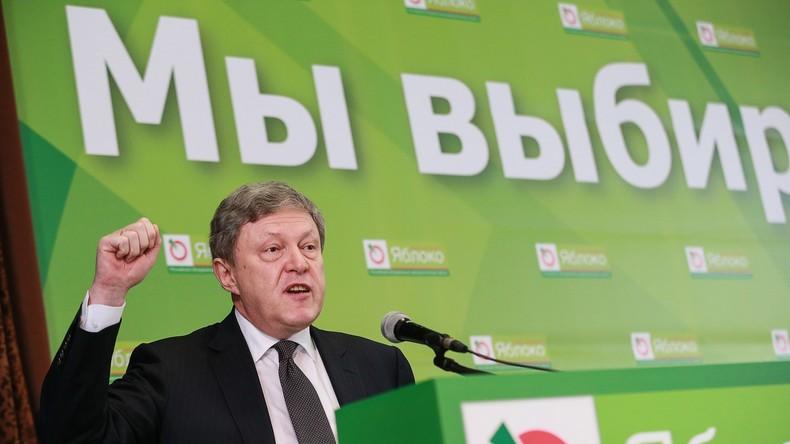 Grigori Alexejewitsch Jawlinski nach seiner Nominierung als Präsidentschaftskandidat für 2018.