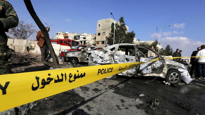 Selbstmordattentat auf ein Polizeidienststelle in einem Wohnbezirk von Damaskus, Masaken Barza, Syrien, 9. Februar 2016.