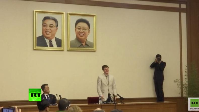 Pjöngjang: Da kullern die Tränen - US-Student beim Stehlen eines nordkoreanischen Posters erwischt