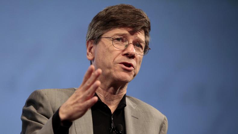 Professor Jeffrey Sachs bei einem Vortrag an der Columbia Universität über die geopolitischen Folgen der Finanzkrise, New York, Oktober 2009.