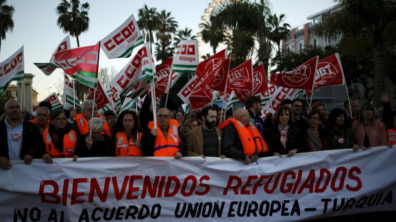 Tausende protestieren in Spanien gegen geplanten EU-Türkei-Deal