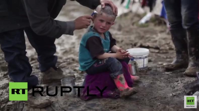 Idomeni: Flüchtlinge rasieren ihren Kindern die Köpfe kahl, um sie von Läusen zu befreien