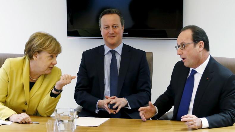 Angela Merkel macht David Cameron und Francois Hollande die Ansage, Brüssel, 18. März 2016.