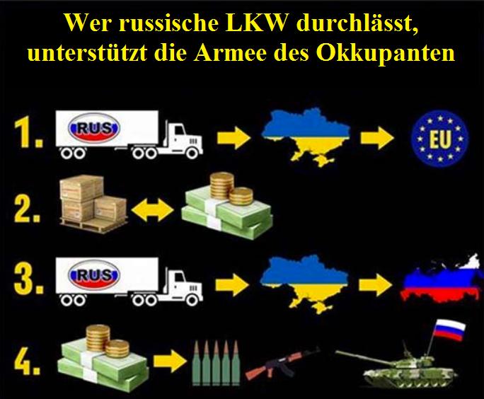 """Flyer der """"ukrainischen Aktivisten"""", die russische LKWs in der Westukraine festhalten"""
