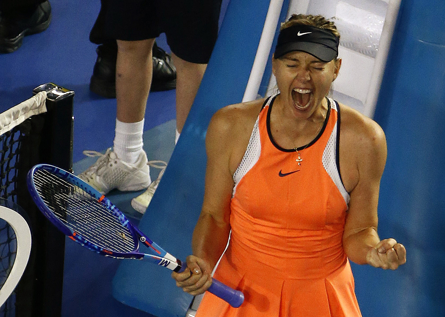 Sharapova nachdem sie ein Match währed der Australian Open gewonnen hatte.