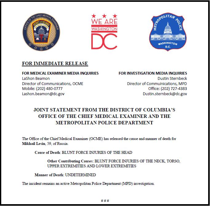 Offizielle Pressemitteilung der New Yorker Untersuchungsbehörden zum gewaltsamen Tod von Kreml-Berater Michael Lessin.