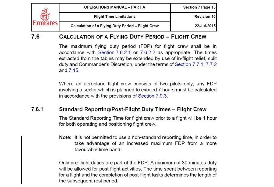 """Die """"Emirates""""-Vorschrift, die der Pilot Z. dem Sender RT zur Verfügung gestellt hat."""