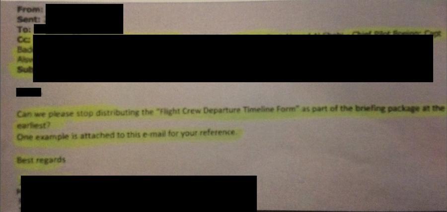 """Der Brief der Firmenleitung, den der Pilot Z. dem Sender zur Verfügung gestellt hat. Der Text lautet: """"Können wir bitte mit dem Veröffentlichen des Zeitplans der Vorfluganleitungen bis auf Weiteres aufhören?"""""""