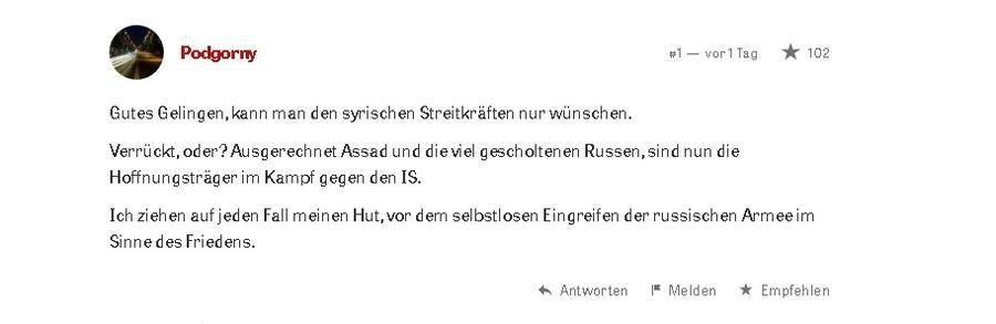 """Befreiung Palmyras: Berichterstattung in westlichen """"Leitmedien"""" versus den Leserkommentaren"""