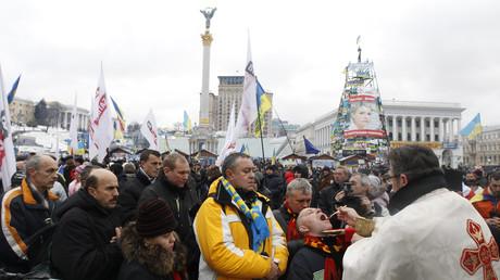 Von höchster Stelle geweiht: Vor allem die ukrainische Kirche stellte sich auf die Seite des Umsturzes