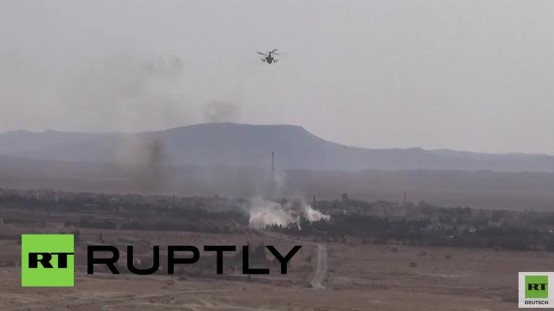 Syrien: Amateuraufnahmen sollen Attacken russischer Hubschrauber auf den IS zeigen