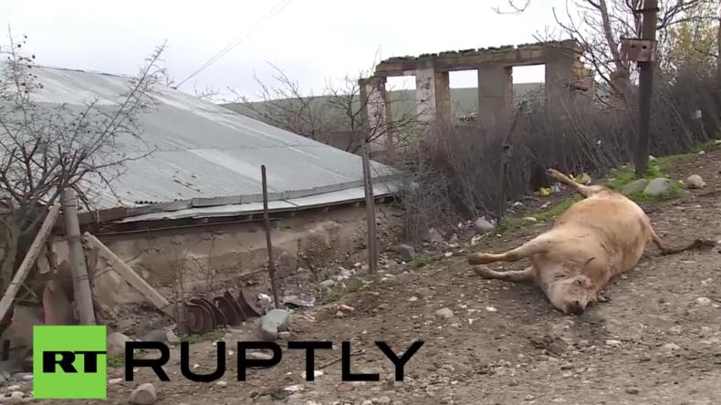 Berg-Karabach: Dorfbewohner fliehen, nachdem ihr Dorf beschossen wurde