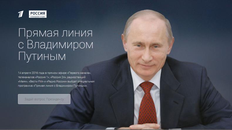 """""""Der direkte Draht"""" – Putin-Fragerunde am 14. April live bei RT Deutsch mit Simultanübersetzung"""