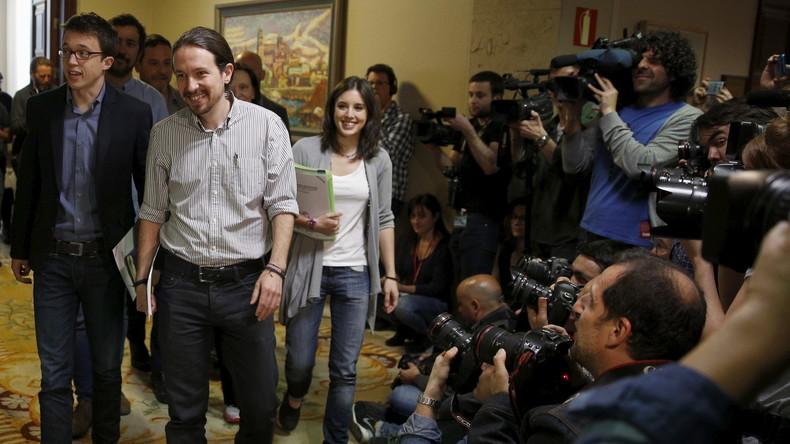 Pablo Iglesias, Inigo Errejon und Irene Montero von Podemos auf dem Weg zu einem letzten Treffen mit der PSOE, Madrid, April 2016.