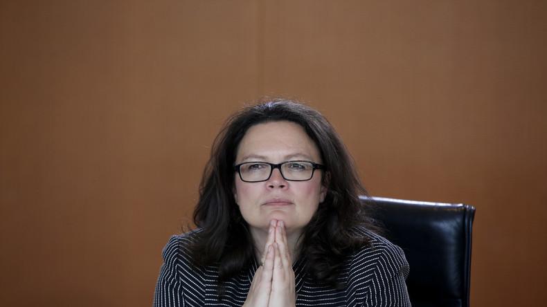 Will alleinerziehenden Müttern Geld streichen, wenn der Nachwuchs einen Tag beim Vater verbringt: Bundesarbeitsministerin Andrea Nahles (SPD)