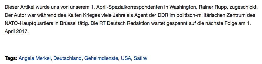 """""""Sie meinten es todernst"""" - BILD fällt auf 1. April-Scherzartikel von RT Deutsch rein"""