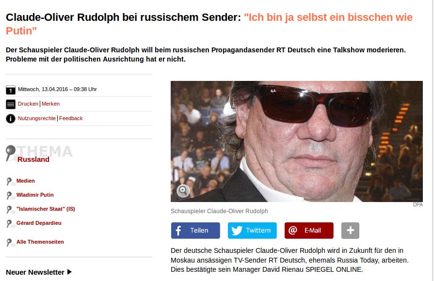 Spiegel online über den neuesten Coup von RT Deutsch. Quelle: Screenshot