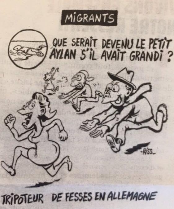 Karikatur aus der französischen Satire-Zeitung 'Charlie Hebdo', Januar 2016