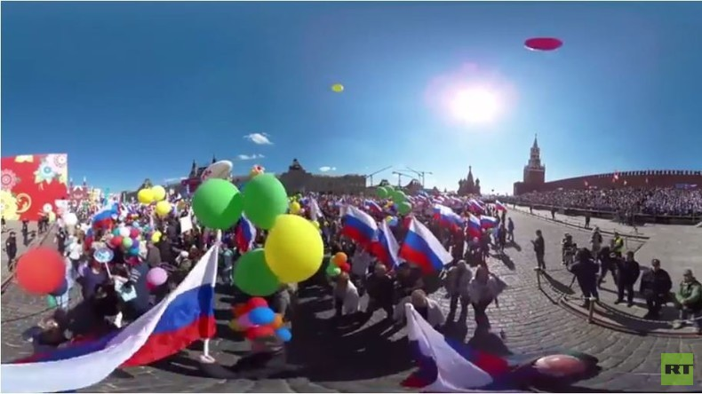 1. Mai Parade in Moskau in der 360 Grad Panoramaperspektive