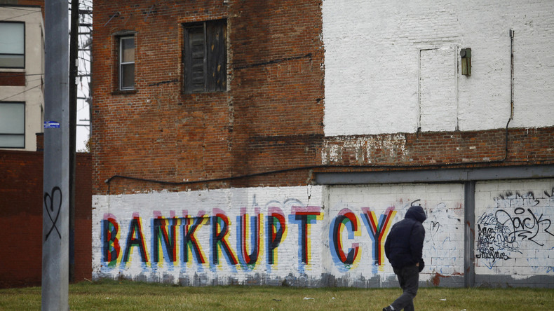 Bankrotte Stadt - ein Graffiti in Detroit drückt die aktuelle Lage der einst stolzen Metropole aus