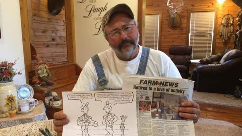 Der Zeichner Rick Friday hat aufgrund eines Cartoons über Monsanto und andere Agrarmultis veröffentlichte. Bildquelle: @wideopencountry