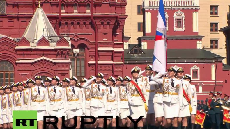 Russland: Weibliche Kadetten marschieren erstmals bei der Siegesparade in Moskau mit